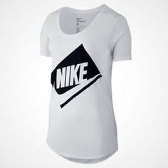 Shop Women's Nike White Black size L Tees - Short Sleeve at a discounted price at Poshmark. Description: Soft and comfortable polycotton blend fabric Ribbed scoop neck and short sleeves Nike signature and swoosh logo branding Color: White. Sold by michellelynn. Fast delivery, full service customer support.