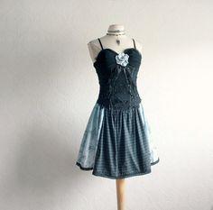 Black Cocktail Dress Bustier LBD Blue by BrokenGhostClothing,