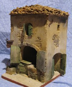 pesebres en icopor - Buscar con Google Clay Houses, Ceramic Houses, Miniature Houses, Nativity House, Christmas Nativity Scene, Pottery Houses, Woodland House, Ceramics Projects, Fairy Doors