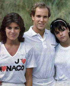Princess Caroline and Princess Stephanie with their brother, Prince Albert of Monaco