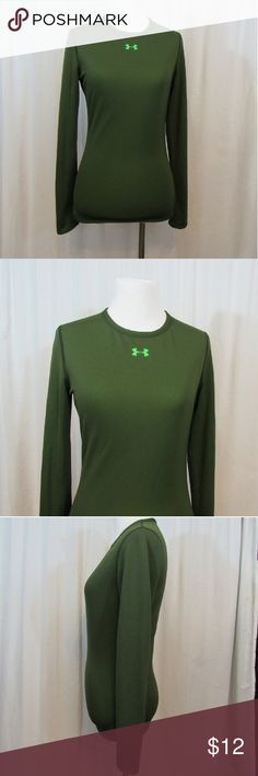 "Under Armour Allseasongear Stay Cool Top XS Size tag is missing. Sizing is based on measurements.   Brand: Under Armour  Size: XS Material:  Care Instructions:  Bust:  34""  Sleeves: 24"" Shoulders: 13"" Length: 25""   All clothes are in excellent used condition. No tears, stains or holes unless otherwise I noted.   P18 Under Armour Tops"