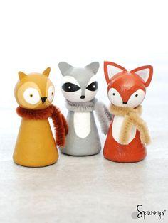 Woodland animal peg dolls - painting ideas to inspire you.