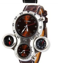 Men's Stainless Steel Timepiece With Dual Compass and Thermometer