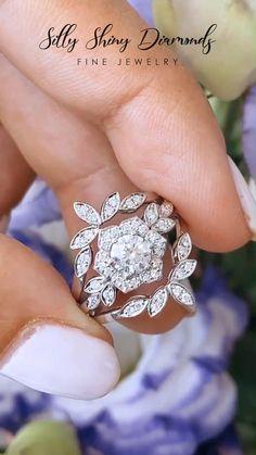 Diamond Wedding Rings, Bridal Rings, Flower Wedding Rings, Wedding Jewelry, Wedding Bands, Flower Rings, Dream Engagement Rings, Leaf Engagement Ring, Unique Rings