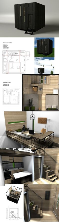 Gabrijela Tumbas' compact dwelling concept measures in at about 236 sq. ft. It sleeps 4, has a lofted bedroom, kitchen, dining and living quarters, a convertible sofa, and a bathroom. | Tiny Homes