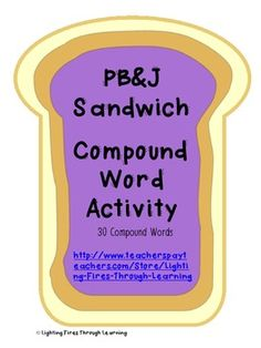 Students will have fun making compound word 'peanut butter and jelly sandwiches' by matching together a peanut butter word side with a jelly word side!  As students form the compound words, they write them down on the included worksheet. This can be used as a center, partner, independent, or group activity.