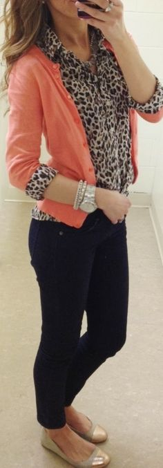 Fall Work Outfit With Leopard Shirt and Black Jeans. Good idea for days when I'm just not creative enough. | best stuff
