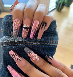 nail art designs with glitter / nail art designs ; nail art designs for winter ; nail art designs for spring ; nail art designs with glitter ; nail art designs with rhinestones Summer Acrylic Nails, Best Acrylic Nails, Acrylic Nail Designs, Nails Now, Long Nail Art, Fire Nails, Shiny Nails, Glitter Nail Art, Glitter Nail Designs