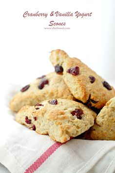 Cranberry and Vanilla-Yogurt Scones - Lightened-up, no-butter sweet Scones made with a delicious vanilla yogurt and ruby red cranberries.