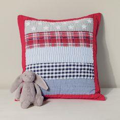 kid's quilt cushion, children's bedroom furnishings, tartan cushion