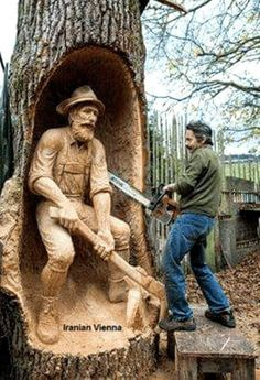Chainsaw art, now aint that slick. Chainsaw Wood Carving, Wood Carving Art, Art Sculpture En Bois, Garden Sculpture, Chain Saw Art, Tree Carving, Into The Woods, Wood Creations, Wooden Art