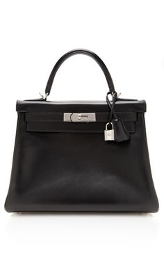 Hermes 28Cm Black Calf Box Leather Retourne Kelly