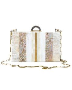 Minaudi�res Shell and mother-of-pearl box clutch, Lanvin,