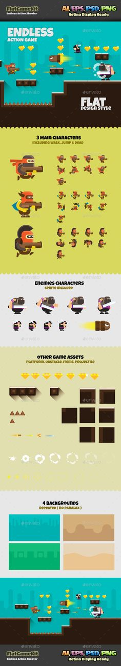 Shooter Flat Game  #flat design #full assets #full sprite set • Click here to download ! http://graphicriver.net/item/shooter-flat-game/16019121?ref=pxcr