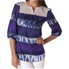 "CALYPSO ST BARTH Target Sz S Tie Dye Tunic Blouse CALYPSO ST BARTH Target Sz S Oversized Blue Tie Dye Print Tunic Blouse NWOT Purple, Blue & White Tie-Dye Print Crocheted Front Neckline, 3/4 Sleeve 100% Silk Machine Wash Cold, Dry Flat Size Small- oversize loose flowy top Length=26.5"" Chest=38"", Waist=40"" NWOT- Fun Top!! Calypso St. Barth Tops Blouses"