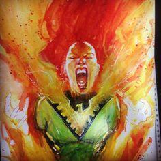 Jean Grey by Rod Reis #phoenix #heroescon2018 Jean Grey Phoenix, Dark Phoenix, Phoenix Marvel, Phoenix Force, X Men, Comic Art, Tattoos, Painting, Instagram