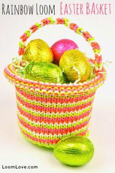 rainbow loom easter basket