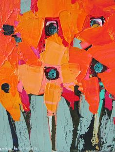 inka gallery: Images from 'Vivid' - an exhibition of small canvases by Anna Blatman. Flower Painting Canvas, Diy Canvas Art, Small Canvas, Painting Abstract, Acrylic Paintings, Art And Illustration, Paintings I Love, Art Paintings, Hans Christian