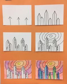Elementary art teacher having fun and giving or getting inspiration! Art Drawings Sketches Simple, Art Drawings For Kids, 3rd Grade Art Lesson, 6th Grade Art, Line Art Lesson, Elementary Art Rooms, Art Lessons Elementary, Elementary Art Education, Art Lessons For Kids