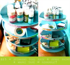 Organized Craft Carousel. turn a spinning tool rack into a cute craft organizer.