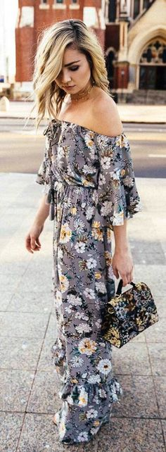 13b323472d Boohoo Off The Shoulder Floral Ruffle Maxi Dress Gray floral Trending  Summer Spring Fashion Outfit to