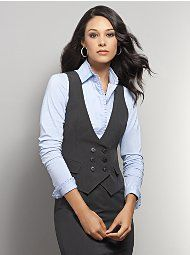 New York & Company - Double-Breasted Black & White Pinstripe Vest Business Chic, Business Outfits, Business Attire, Business Fashion, Vest Outfits For Women, Suits For Women, Cute Outfits, Gilet Costume, Work Fashion