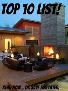 Top 10: Decks & Patios... Modern patio deck outdoor fireplace lighting