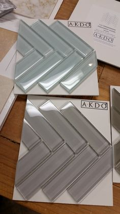Glass tile in a Herringbone Pattern by AKDO Glass Tile Backsplash, Backsplash Ideas, Kitchen Backsplash, Kitchen Renovations, Home Remodeling, Kitchen Remodel, Modern Kitchen Tiles, Kitchen Redo, Beach House Kitchens