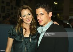 Actors Jacinda Barrett and Wentworth Miller pose at the Hollywood Film Festival's special screening of 'The Human Stain' at the Arclight Theatre on October 21, 2003 in Los Angeles, California.