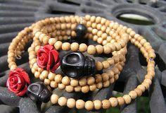 Day of the Dead Bracelet and Choker set wood beads by shabbyskull, $14.00