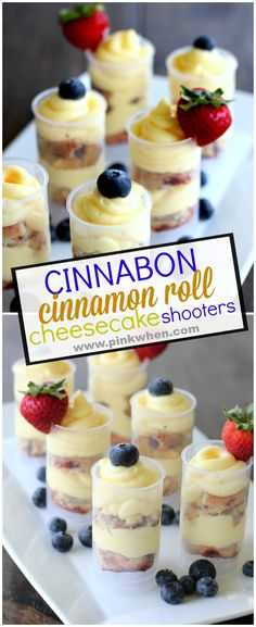 Cinnabon Cinnamon Roll Cheesecake Shooters - PinkWhen - - If you are looking for a completely decadent and amazing dessert, you MUST try these Cinnabon Cinnamon Roll Cheesecake Shooters. Mini Dessert Shooters, Cheesecake Shooters, Mini Dessert Cups, Cheesecake In A Jar, Cheesecake Desserts, Raspberry Cheesecake, Dessert In A Cup, Apple Cheesecake, Mini Desserts