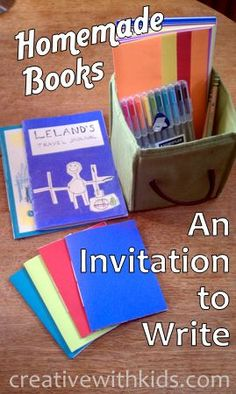 Easy Homemade Books - with video tutorial for simple book binding stitch. Having a stack of these on hand encourages a lot of creative writing and drawing.