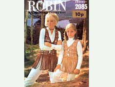 PDF Genuine Vintage Robin 1970s Mother & Daughter Lacy Tasselled Waistcoats Lacy Crochet Pattern