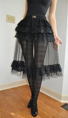 Black Lace Tulle Steampunk Gothic Ruffle Skirt OverSkirt ( also Available in… Viktorianischer Steampunk, Steampunk Fashion, Steampunk Necklace, Gothic Mode, Gothic Lolita, Victorian Gothic, Gothic Girls, Lolita Fashion, Gothic Fashion