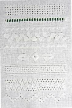 Link for Needlework Tips & Techniques  -  Online instructions for a drawn-thread, white work,   sampler with 7 different stitches.
