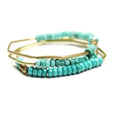 Faceted Turquoise Hand Forged Brass Bracelet