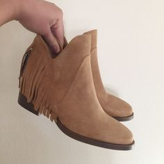 """ZARA suede fringe ankle boot New with tags. Suede boot with ankle fringe detail. Block heel - 2.25"""". Authentic leather. US 6/EU 36. No trades or Paypal. Zara Shoes Ankle Boots & Booties"""