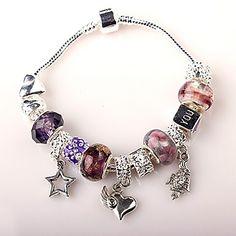 perlas púrpura pulsera del encanto de la mujer pulseras de abalorios artesanales de estilo europeo – USD $ 4.99