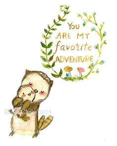 Nursery Art -- My Favorite Adventure OWL -- Art Print