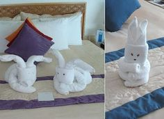 Bunny facts around us: Animal Towel Sculptures | Towel folding Origami http://foldingmagic.com . Cute!