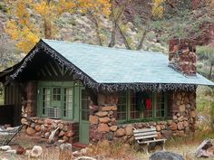 "traveldaily: "" Cabin Hearted: Holiday Spirit Instant Smile: Cozy Cabin in Phantom Ranch, Grand Canyon This tiny cabin with the holiday wreath starts to pull you away from the shopping and craziness. Tiny Cabins, Cabins And Cottages, Log Cabins, Little Cabin, Little Houses, Cozy Cabin, Cozy Cottage, Cabin Homes, Log Homes"