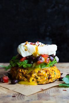 Baked Sweet Potati Rosti with Black Bean Salsa, Avocado and Poached Egg! A delicious and satisfying meal, perfect for any time of the day!