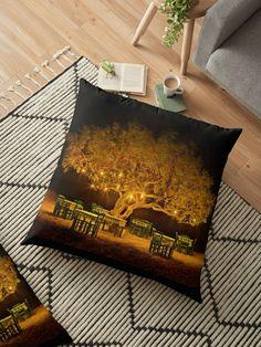 'The golden tree of Naxos' Floor Pillow by Hercules Milas Throw Pillows Bed, Bed Throws, Floor Pillows, Decorative Throw Pillows, Golden Tree, Night Shot, Block Wall, Hercules, Art Boards