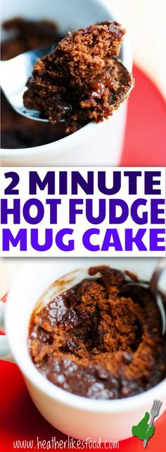 It takes just a few minutes to  have this hot, gooey hot fudge mug cake in your hands and ready to scarf down, preferably with a scoop of ice cream!