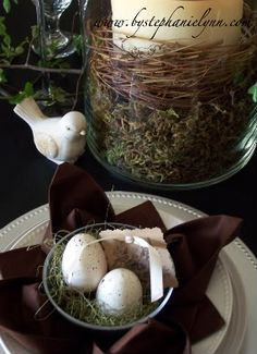 Spring tablescape! so cute with the birds theme :)