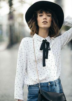 Collection PE 17 | La petite étoile Col claudine et cravate  Chemise à pois  Chic Parisien street style chapeau