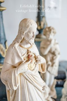 Antique FRENCH Jesus Christ Statue Sacred Heart by edithandevelyn