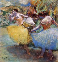 Nessa pintura Edgar Degas representa o movimento da dança das bailarinas.