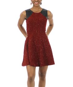 Burgundy Shoulder-Accent Glitter Fit & Flare Dress