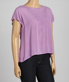 Look at this #zulilyfind! Lavender Embroidered Button-Back Top - Plus #zulilyfinds